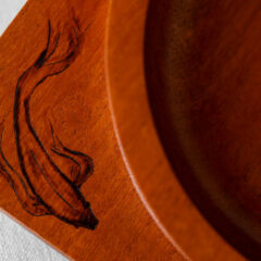 Mahogany Bowl with Wood Burned Koi