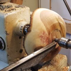 Red Oak on the Lathe